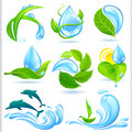 Water and green nature symbols set for earth Stock Photo