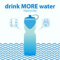 Water for harmony and health. Drink more water. Illustration in blue color