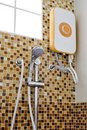 Water heater electronic modern design for decorations on bathroom wall Stock Photography