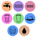 Water icon designs a set of for graphic element use Royalty Free Stock Photography