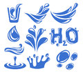 Water icon vector blue set on white Royalty Free Stock Photography