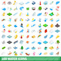 100 water icons set, isometric 3d style