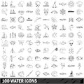 100 water icons set, outline style