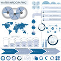 Water info graphic with world illustration Stock Photo