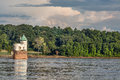 Water intake tower on mississippi river historic number built in below the old chain of rocks bridge the near st louis Stock Photo