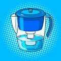 Water jug filter pop art vector illustration