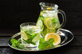 Water with lemon, cucumber, ginger and mint Royalty Free Stock Photo
