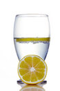 Water and lemon fresh collection glass of isolated on white background Royalty Free Stock Photo