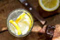 Water with lemon slices and ice Royalty Free Stock Photo