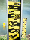 Water level indicators at a river near hamburg Stock Photography