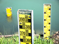 Water level indicators at a river near hamburg Stock Images