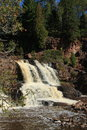Water level shot of waterfalls at Gooseberry Falls Minnesota Royalty Free Stock Photo
