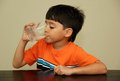 Water a little boy drinking fresh from a glass Royalty Free Stock Photos