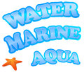 Water, marine and aqua sign Royalty Free Stock Photo