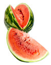 Water melon close up on a white background the big striped ripe Royalty Free Stock Image