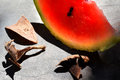 Water melon with a few leaves Stock Photography