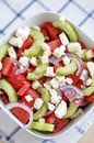 Water melon salad with cucumber onion and feta cheese Royalty Free Stock Photography