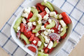 Water melon salad with cucumber onion and feta cheese Stock Image