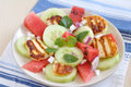 Water melon salad with halloumi cheese healthy Royalty Free Stock Photography