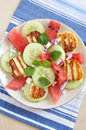Water melon salad with halloumi cheese healthy Stock Photography