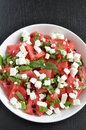 Water melon salad healthy with greek feta and mint Royalty Free Stock Images