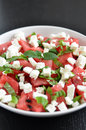 Water melon salad healthy with greek feta and mint Royalty Free Stock Photos