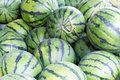 Water melons sold on an outside asian market in Beijing Royalty Free Stock Photo