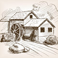 Water mill hand drawn sketch vector style illustration old engraving imitation imitation Stock Photography