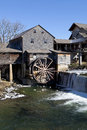 Water mill in pigeon forge tennessee watermill on the little river the mountain community of during the winter ice can be seen Royalty Free Stock Images