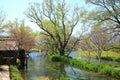 Water mill and river azumino nagano japan Stock Photography