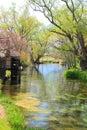 Water mill and river azumino nagano japan Royalty Free Stock Image