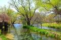 Water mill and river azumino nagano japan Royalty Free Stock Images