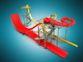 Water park rides red yellow 3d rendering on blue background