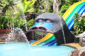 Water park slides. colorful children's slide Royalty Free Stock Photo