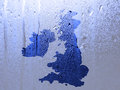 Water patter overlaid onto uk outline map Stock Images