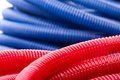 Water pipes closeup of long red and blue Royalty Free Stock Images