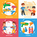Water Pistols Concept Icons Set Royalty Free Stock Photo