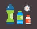 Water plastic sport bottle transparent mineral beverage blank refreshment natureclean liquid environment element vector