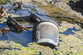 Water pollution garbage plastic boxes and bin pulled into a river with contaminated Stock Photography