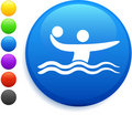 Water polo icon on round internet button Stock Photos