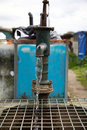 A Water pump at an allotment Stock Photo