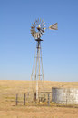 Water pump wind powered in central california Stock Photo