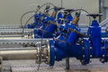 Water pumping station with booster pump control valves Royalty Free Stock Images