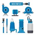 Water pumps. Industrial machinery electronic pump steel systems sewage aqua control station vector icons