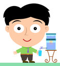 Water purifier a business man getting from a Royalty Free Stock Images