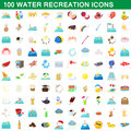 100 water recreation icons set, cartoon style