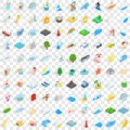 100 water recreation icons set, isometric 3d style