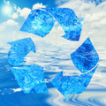 Water recycling concept with symbol and ocean Stock Photography