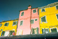 Water reflection of colorful houses in Burano, Venice, Italy Royalty Free Stock Photo
