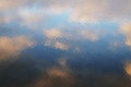 Water reflections of the sky on the lake ripples and mirror effect Royalty Free Stock Photo